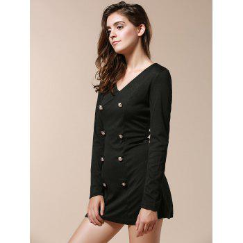 Fashionable V-Neck Solid Color Double-Breasted Long Sleeve Dress For Women - BLACK XL