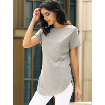 Casual Women's Jewel Neck Short Sleeve Solid Color Slit Dress - S S