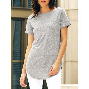 Casual Women's Jewel Neck Short Sleeve Solid Color Slit Dress - GRAY M