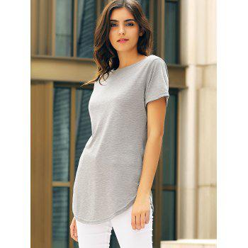 Casual Women's Jewel Neck Short Sleeve Solid Color Slit Dress - M M