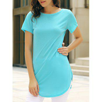 Casual Women's Jewel Neck Short Sleeve Solid Color Slit Dress