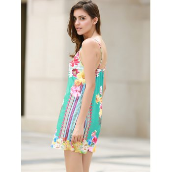 Sexy Plunging Neck Sleeveless Loose-Fitting Floral Print Women's Dress - L L