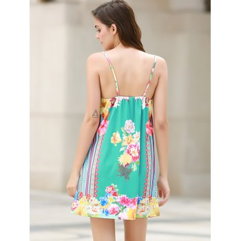 Sexy Plunging Neck Sleeveless Loose-Fitting Floral Print Women's Dress - WATER BLUE WATER BLUE