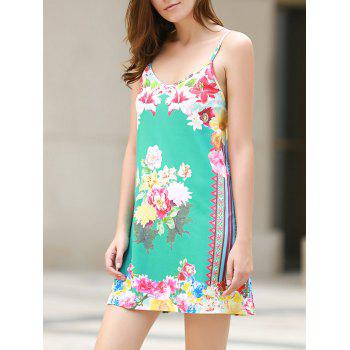 Sexy Plunging Neck Sleeveless Loose-Fitting Floral Print Women's Dress - WATER BLUE L