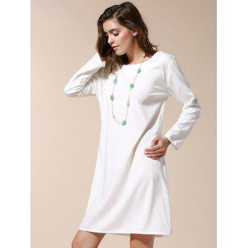 Sexy Scoop Neck Long Sleeve Hollow Out Backless Women's Dress - L L