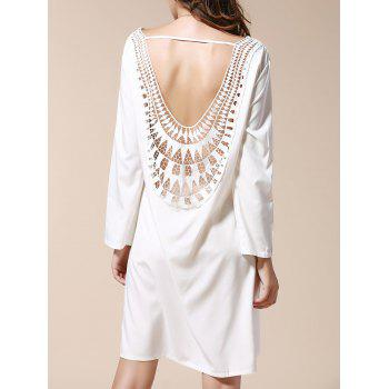 Sexy Scoop Neck Long Sleeve Hollow Out Backless Women's Dress - WHITE L