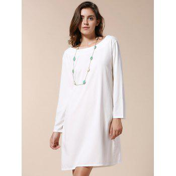 Sexy Scoop Neck Long Sleeve Hollow Out Backless Women's Dress - WHITE WHITE