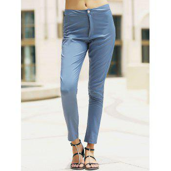 Stylish High-Waisted Slimming Pocket Design Women's Pants - LIGHT BLUE S