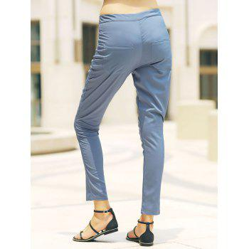 Stylish High-Waisted Slimming Pocket Design Women's Pants - LIGHT BLUE XL