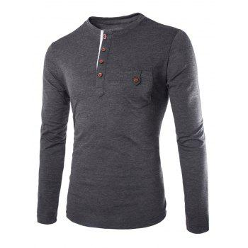 Slimming Round Neck Modish Contrast Color Placket Long Sleeve Polyester Men's T-Shirt