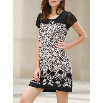 Stylish Short Sleeve Scoop Neck Spliced Loose-Fitting Printed Women's Dress