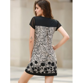 Stylish Short Sleeve Scoop Neck Spliced Loose-Fitting Printed Women's Dress - WHITE/BLACK XL