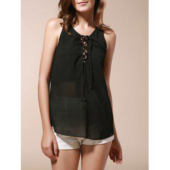 Stylish Scoop Neck Sleeveless Lace-Up Chiffon Black Women's Tank Top