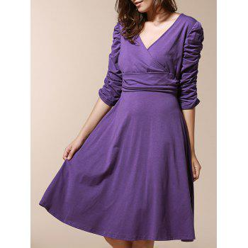 Chic 3/4 Sleeve Plunging Neck Pleated Pure Color Slimming Women's Dress