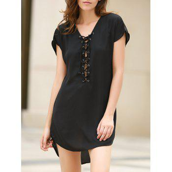 Chic Lace-Up Short Sleeve Black Straight Dress For Women