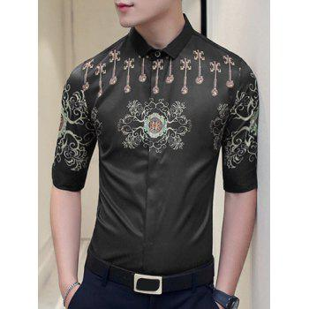 Slim Fit Short Sleeves Turn Down Collar Prnting Shirt For Men