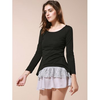 Cute Scoop Neck Long Sleeve Twinset Women's Dress - BLACK ONE SIZE