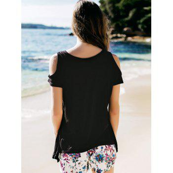Stylish V-Neck Solid Color Cut Out Short Sleeve Women's T-Shirt - BLACK BLACK