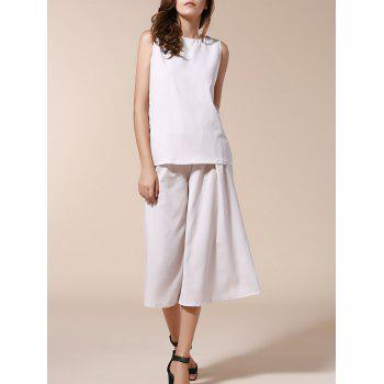 Trendy Women's Sleeveless Tank Top + Solid Color Wide-Leg Pants Twinset