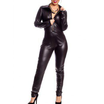 Stylish Long Sleeve Faux Leather Zip Up Black Jumpsuit For Women