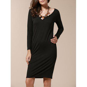 Stylish Long Sleeve Scoop Collar Pure Color Women's Slimming Dress - BLACK XL