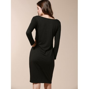 Stylish Long Sleeve Scoop Collar Pure Color Women's Slimming Dress - XL XL