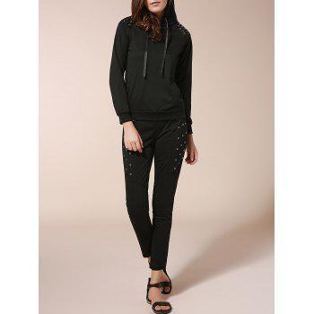 Stylish Long Sleeve Hooded Sweatshirt + Elastic Waist Slimming Pants Women's Twinset