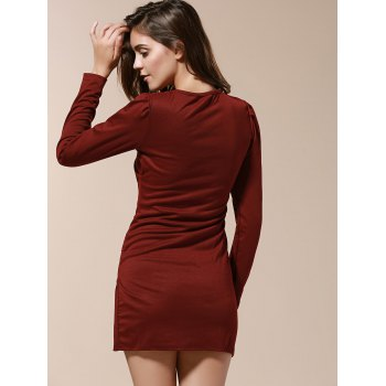 V-Neck Side Pleated Long Sleeve Ruched Dress - WINE RED L