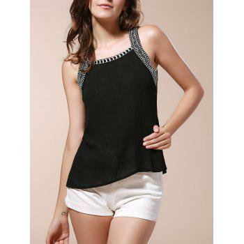 Scoop Neck Cut Out Embroidery Tank Top For Women