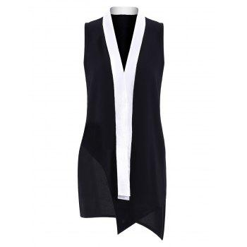 Simple Plunging Neck OL Style Sleeveless Color Block  Women's Dress
