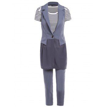 OL Style Striped T-Shirt + Waistcoat + Capri pants Workwear For Women