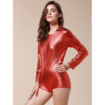 Sexy Long Sleeve Turn-Down Neck Pure Color Women's Dancewear - RED ONE SIZE(FIT SIZE XS TO M)