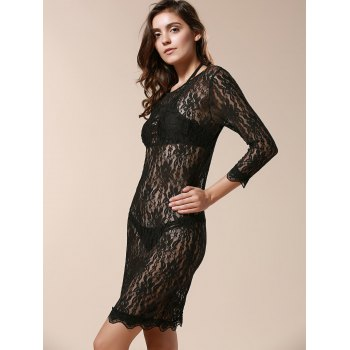 Charming Goddess Three Quarter Sleeve Evening Party Women's Lace Dress - BLACK ONE SIZE