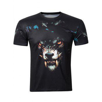 Casual 3D Wolf Printing Round Collar Short Sleeve Men's T-Shirt