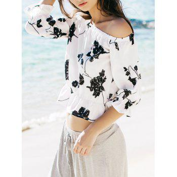 Refreshing Black Floral Printed Off-The-Shoulder Short Blouse For Women - WHITE XL