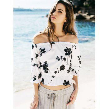Refreshing Black Floral Printed Off-The-Shoulder Short Blouse For Women - XL XL