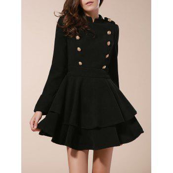 Vintage Stand Collar Long Sleeve Buttons Embellished Ruffles Dress For Women - BLACK L