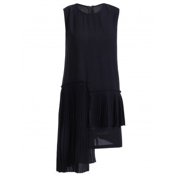 Trendy Sleeveless High Low Black Dress For Women