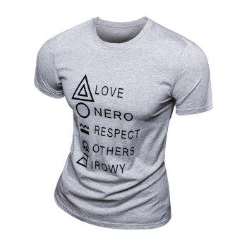 Casual Solid Color Letter Printed Short Sleeve Men's T-Shirt