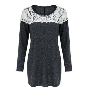 Casual Women's Scoop Neck Lace Patchwork Long Sleeves T-Shirt