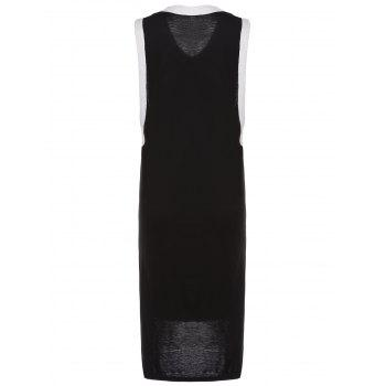Casual Women's Sleeveless V-Neck Eagle Pattern Dress - BLACK ONE SIZE(FIT SIZE XS TO M)