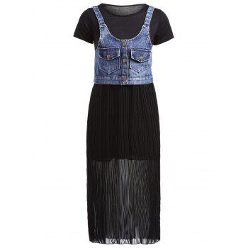 Stylish Denim Waistcoat + Scoop Neck Short Sleeves Voile Spliced Dress For Women