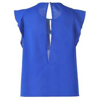 Sweet Women's Slimming Scoop Neck Flounce Blouse - SAPPHIRE BLUE M