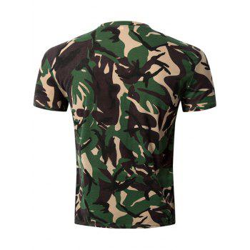 Casual Camo Letter Printed Round Collar Men's Short Sleeve T-Shirt - CAMOUFLAGE 2XL
