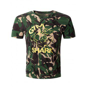 Casual Camo Letter Printed Round Collar Men's Short Sleeve T-Shirt