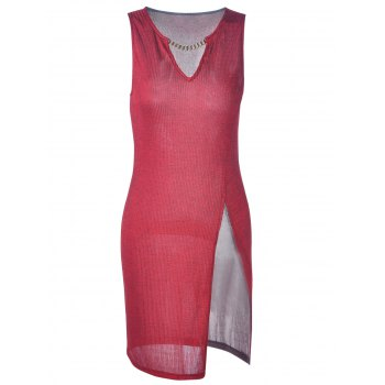 Fashionable Fitted Slit V-Neck ini Dress For Women