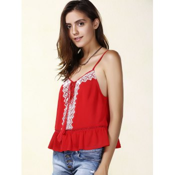 Casual Spaghetti Strap Embroidered Lace- Up Tank Top For Women - RED S