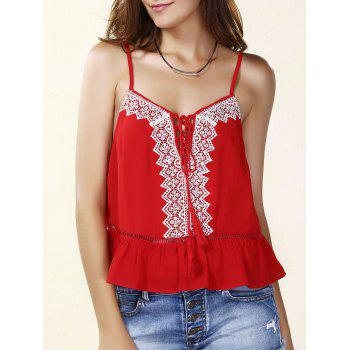 Casual Spaghetti Strap Embroidered Lace- Up Tank Top For Women