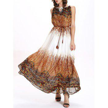 Printed Keyhole Maxi Chiffon Dress