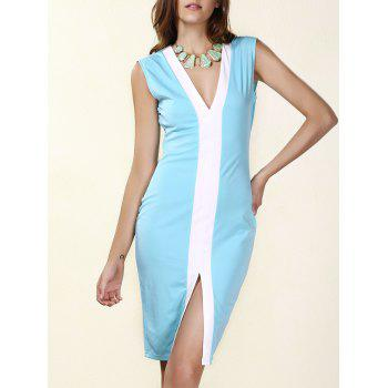 Sexy Plunging Neck Sleeveless Blue Bodycon Dress For Women